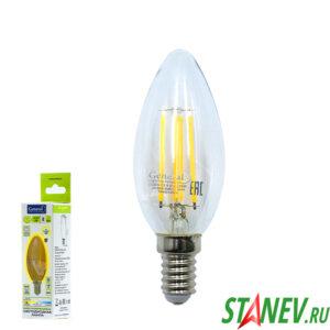 Лампа филаментная Свеча-Е14 8Вт светодиодная 2700K теплый свет 1-10