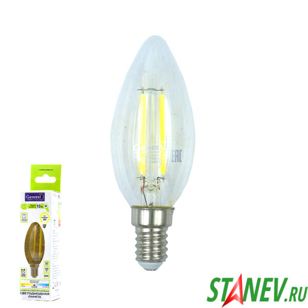 Лампа филаментная Свеча-Е14 10Вт светодиодная 4500K естественный белый свет 1-10