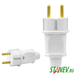 Вилка электрическая В16-006 европейский стандарт без заземления прямая Белая Горс -110