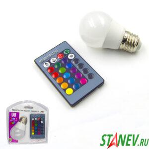Лампа светодиодная RGB Е27 3Вт LED с пультом управления светом 1-100
