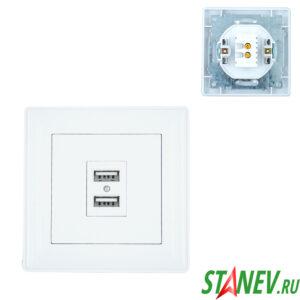 KERAMA-S Розетка на 2 USB белая 5V 2A 2100mA 10-100