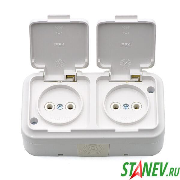 АКВА-белый Розетка РА16-302 влагозащищенная IP54 двойная накладная с крышкой б-з ванная туалет 1-35