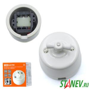 Фарфоровый выключатель поворотный ретро 10А белый для открытой проводки ручка бантик 10-100