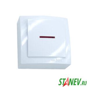 NILSON Выключатель 1ОП с подсветкой белый Themis 12-120