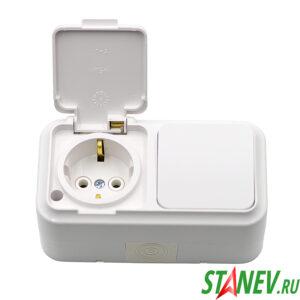 АКВА-белый Блок В-РЦ-657 влагозащищенный IP54 накладной 1кл выключатель розетка с крышкой з-к 1-25