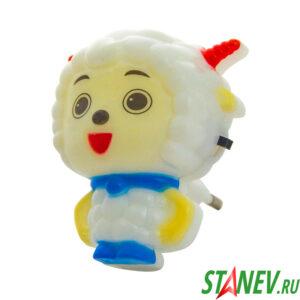 Светильник ночник детский светодиодный LED ОВЕЧКА в розетку с выключателем 100-400