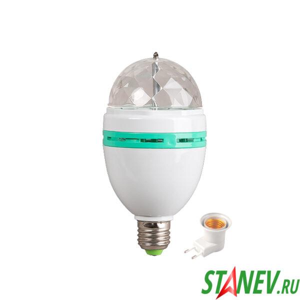 Диско лампа светодиодная LED 3Вт в цоколь Е27 с переходником в розетку проекционная 1-50