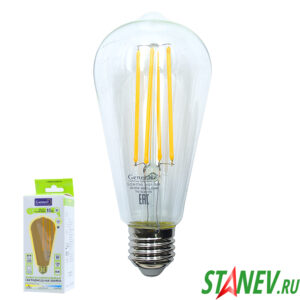 Лампа филаментная грушевидная Е27 10Вт модель Винтаж ST64S LED 2700K теплый свет General 1-10