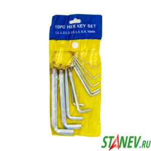 Ключи шестигранные имбусовые Чехол средние набор 10 шт на кольце 1.5-10мм 40-120