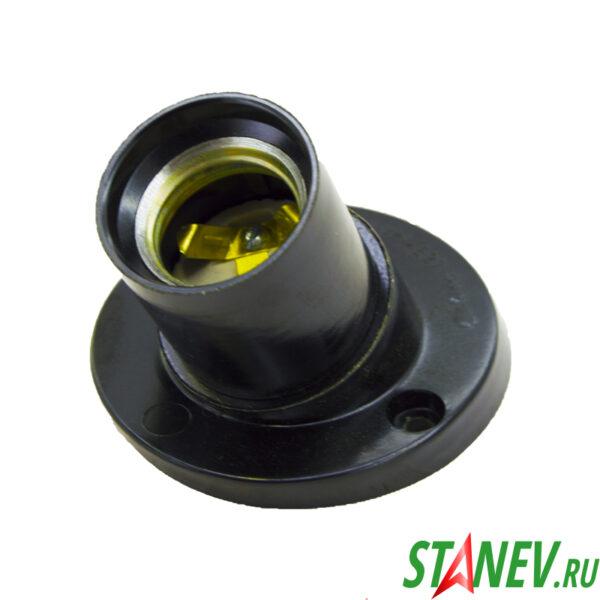 Электрический патрон карболитовый настенный Е27 косой фланец черный Ливны 10-150