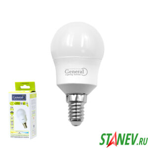 G45F Лампа светодиодная Шарик-Е14 12Вт 4500К естественный белый свет General 10-100