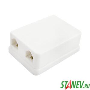 Телефонная розетка ЕВРО-2 белая RJ-11 6р4с х 2 выхода 50-400