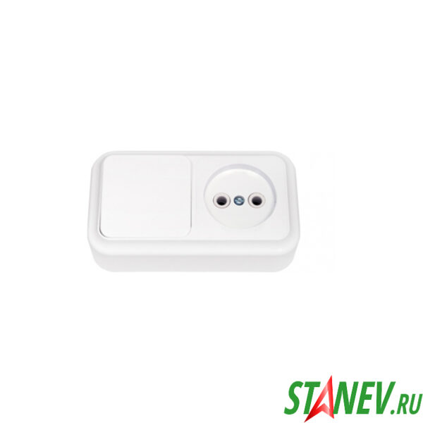 ПРАЛЕСКА Блок комбинированный накладной В-РЦ-521 выключатель 1 клавиша розетка без заземления 1-54