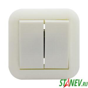 ЭЛЕКТ Выключатель С56-124 2 клавишный 6А внутренний 1-70
