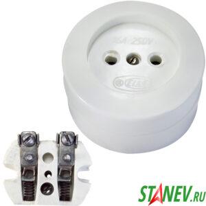 Розетка РА16-У21 белый 16А карболитовая керамика IP20 Елкон 20-200