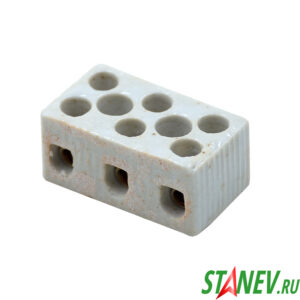 Колодка клеммная винтовая 3х3 керамика Р3-10А 8мм2 100-10000