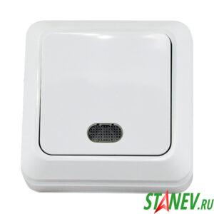 Выключатель 1 клавишный с подсветкой о-у 10А белый КЕRАМА 10-200