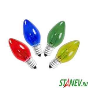 Лампа декоративная накаливания Е12 10 Вт цветные 50-2000