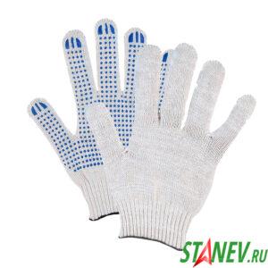 Перчатки рабочие ХБ с ПВХ покрытием БЕРЕЗА-012 4 нити 10 класс 10-250