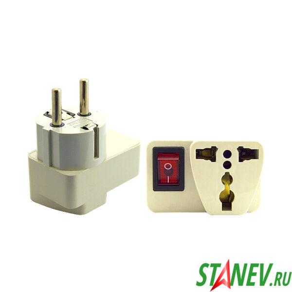 Адаптер для вилки Переходник Universal английский с выключателем 12-600