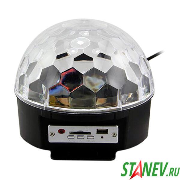 Диско шар музыкальный с USB разъемом и пультом ДУ проекционный 1-12