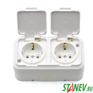 АКВА-белый Розетка РА16-303 влагозащищенная IP54 двойная накладная с крышкой с-з ванная туалет 1-30
