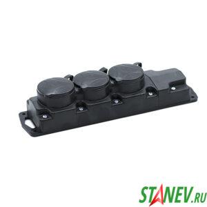 BYLECTRICA Колодка электрическая с крышками на 3 розетки 16А каучук с заземлением IP44 Р16-381 1-22