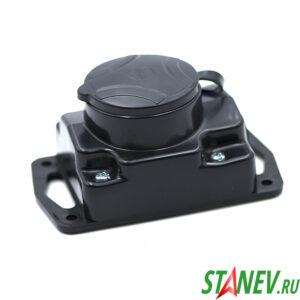 BYLECTRICA Колодка электрическая с крышкой на 1 розетку 16А каучук с заземлением IP44 Р16-413 1-54
