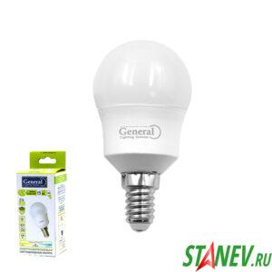 G45F Лампа светодиодная Шарик-Е14 15Вт 4500К естественный белый свет General 10-100