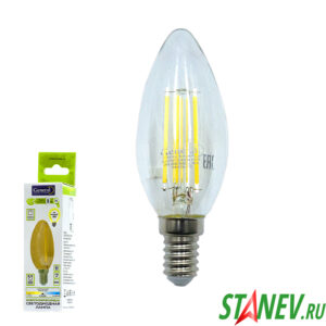 Лампа филаментная Свеча-Е14 8Вт светодиодная 4500K естественный белый свет 1-10