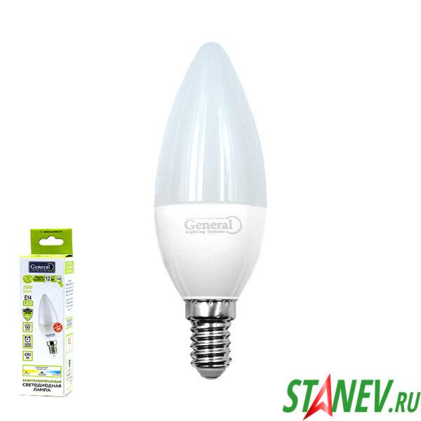 СF Лампа светодиодная Свеча-Е14 12Вт 4500К естественный белый свет General 10-100