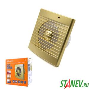 Бытовой вытяжной вентилятор в ванну в туалет 100 мм золото ТДМ 1-1