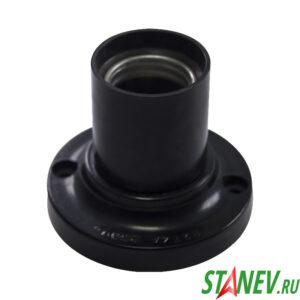 Электрический патрон потолочный Е27 карболитовый черный прямой фланец Standart-Luxe 50-200