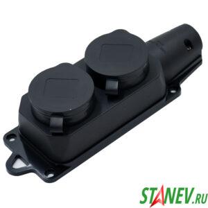 RUBBER Розетка с заглушками уличная двойная влагозащищенная с заземлением IP44 Standart-Luxe 10-60