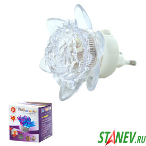 Ночник диодный Цветок большой 1W/220V с выключателем 10-120