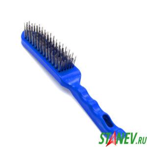 Щетка по металлу ручная 6 рядная синий пластиковый корпус Ракета X-PERT 12-120
