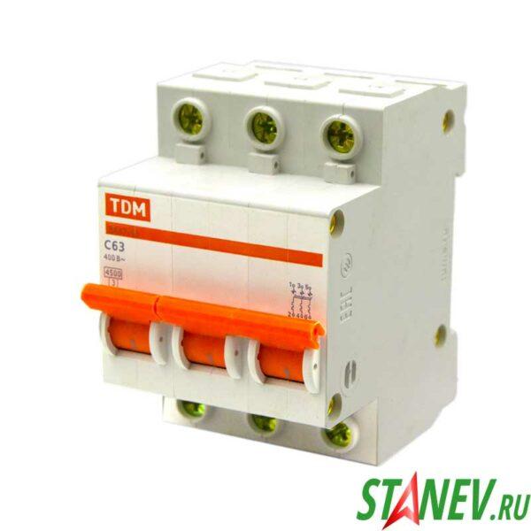 Автоматический выключатель ВА47-63 3Р 63А ТДМ 4-40