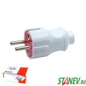 Вилка электрическая ei-bi с заземлением прямая белая 20-600