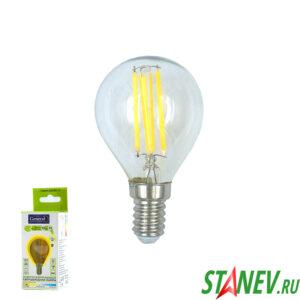 Лампа филаментная Шар-Е14 10Вт Шар светодиодная 2700K теплый белый свет 1-10