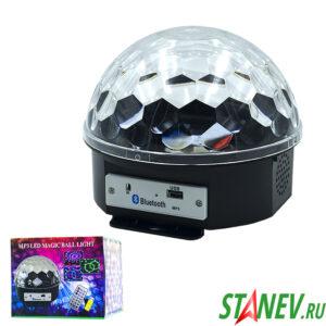Диско шар с Bluetooth музыкальный с пультом и USB разъемом проекционный 1-12