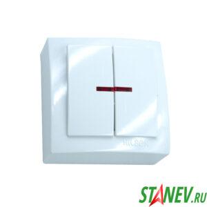 NILSON Выключатель 2ОП с подсветкой белый Themis 12-120
