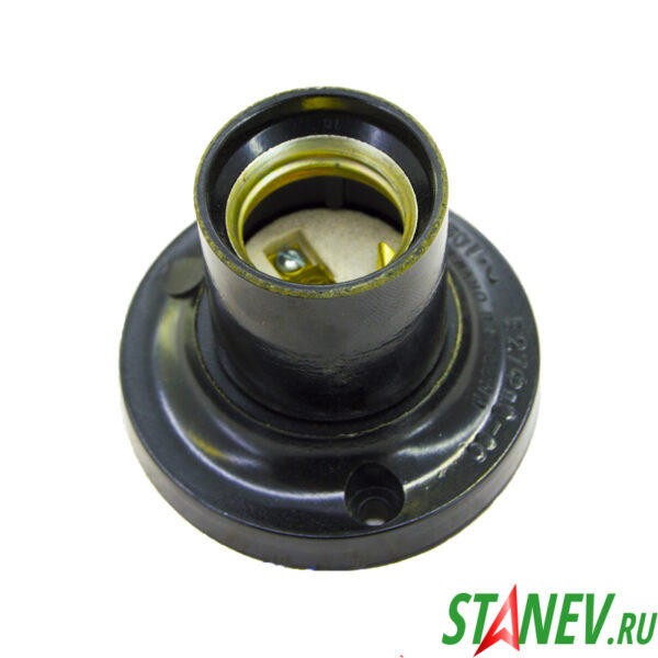 Электрический патрон потолочный Е27 карболитовый черный прямой фланец Ливны 10-150