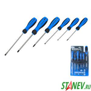 Набор отверток с намагниченным шлицом и площадкой 6 шт в наборе SPARK LUX 1-10