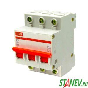Автоматический выключатель ВА47-63 3Р 10А ТДМ 4-40