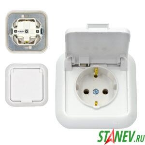 ГАРМОНИЯ Розетка РС16-289 влагозащищенная IP44 скрытой установки с-з с крышкой ванная туалет 1-50