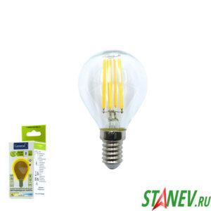 Лампа филаментная Шар-Е14 8Вт Шар светодиодная 2700K теплый белый свет 1-10