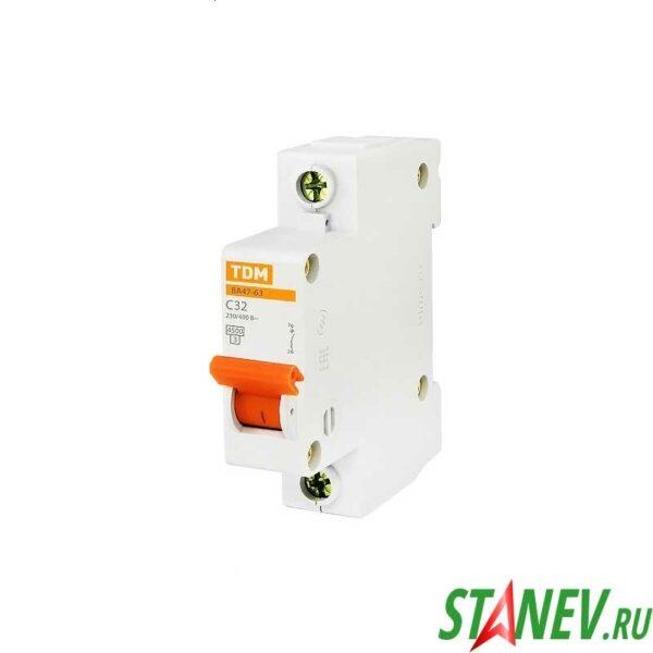 Автоматический выключатель ВА47-63 1Р 32А ТДМ 12-120