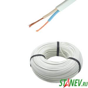 Провод электрический ШВВП 2 х 0.5 кв.мм плоский белый двужильный ТУ бухта 200м