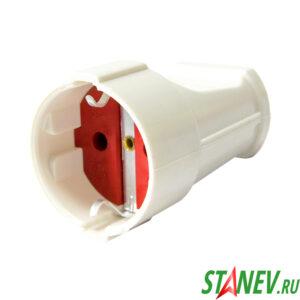 Гнездо штепсельное с з-к белое 16А STANdart luxe 12-360