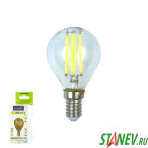 Лампа филаментная Шар-Е14 10Вт светодиодная 4500K естественный белый свет 1-10